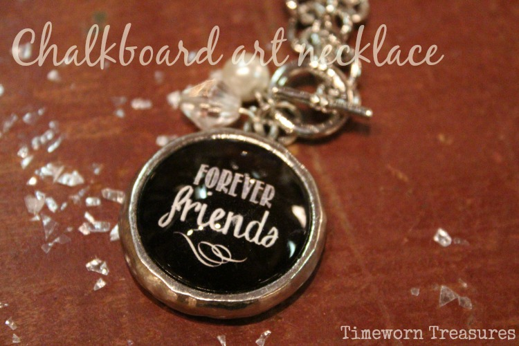 Chalkboard art charm necklace