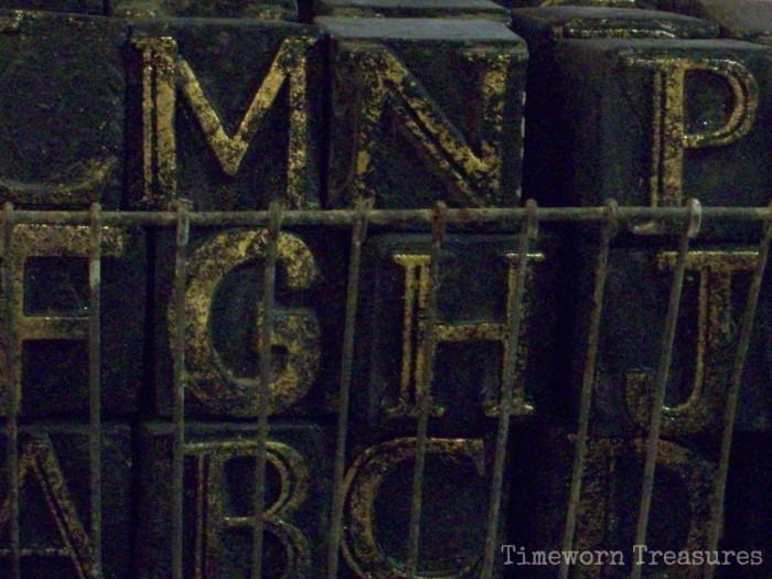 Antiqued letter blocks