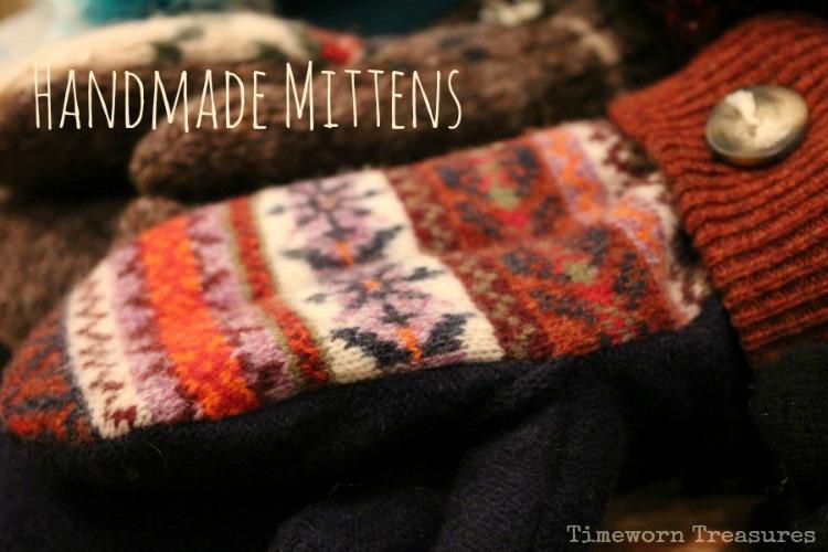 Handmade wool mittens