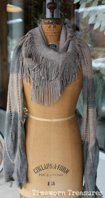 Winter scarves on antique dressform