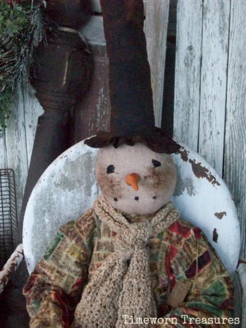 Large handmade snowman