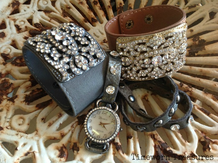 Leather cuffs & leather wrap watch
