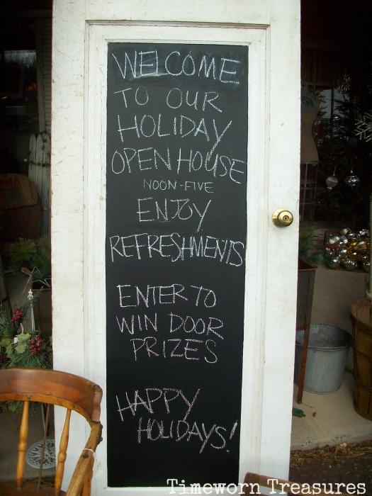 Christmas Open House chalkboard
