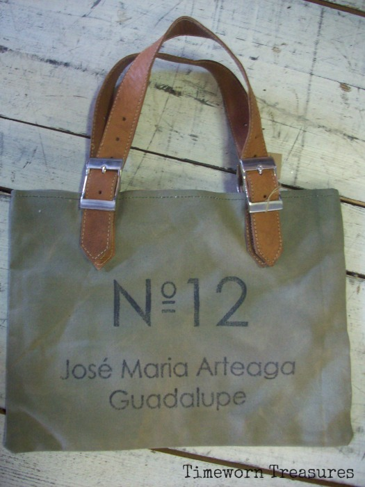 Repurposed bag with leather straps