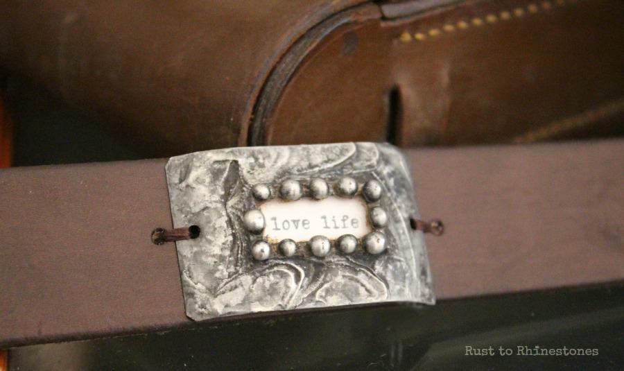 "Handmade ""love life"" leather bracelet"
