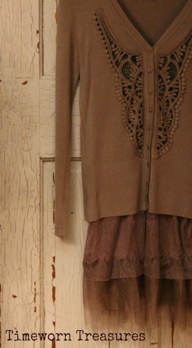 Brown crochet cardigan & lace top set