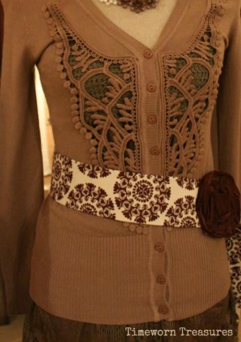 Crochet cardigan & lace top set