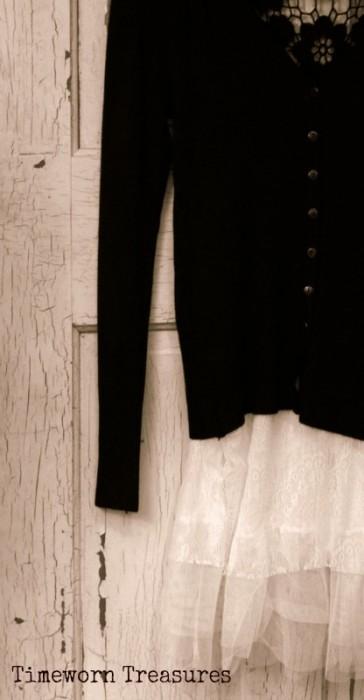 Black crochet cardigan & lace top set