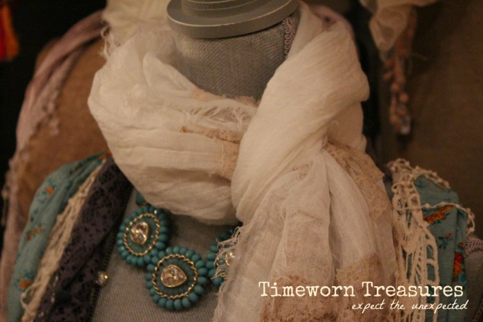 Vintage inspired scarves with jewelry
