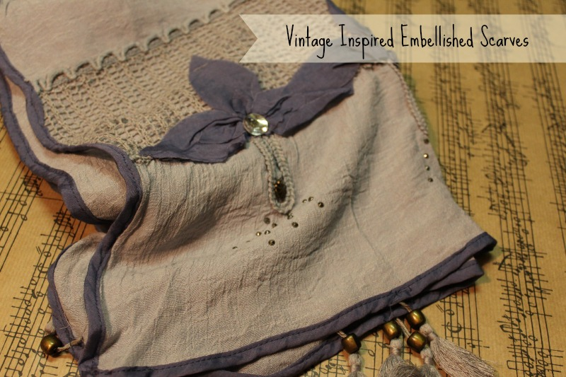 Vintage inspired scarves with embellishments
