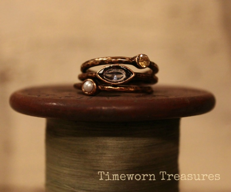 Stackable copper tone rings