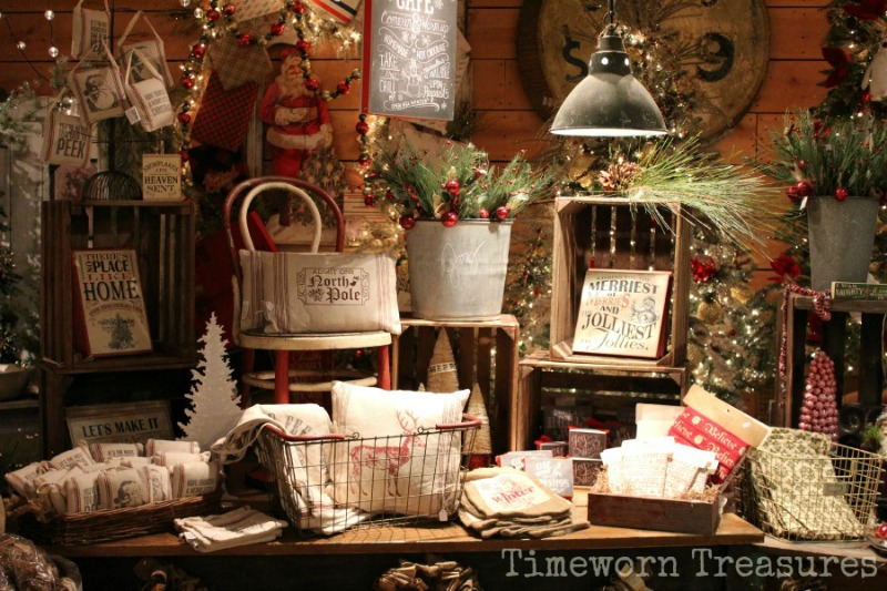 Christmas display at Timeworn Treasures
