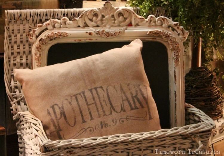 Apothecary pillow, white vintage basket, & ornate chalkboard