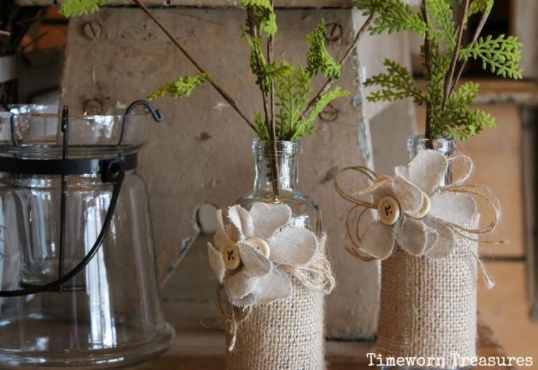 Greens in burlap vases