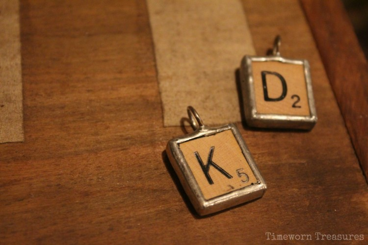 Vintage scrabble tile pendants